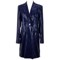 All About Eve Couture (Talbot Runhof) Midnight Blue Sequin Evening Jacket Coat