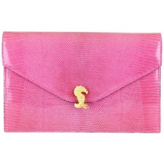 Asprey Pink Lizard Clutch With Gold Hardware And Optional Strap