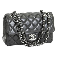 CHANEL Mini 'Timeless' Flap Bag in Quilted Smooth Black Leather