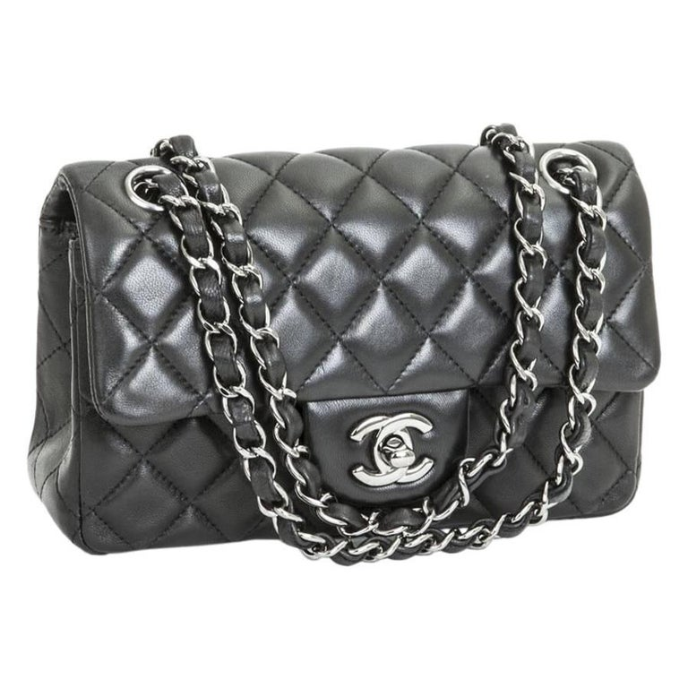 14d586cc2b4a CHANEL Mini 'Timeless' Flap Bag in Quilted Smooth Black Leather For Sale