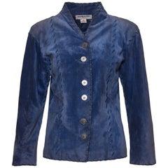 1980s YVES SAINT LAURENT Rive Gauche Blue Avio Suede Leather Jacket