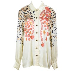 Escada 1991 Documented Light Yellow or Gold Animal And Gem Print Silk Blouse