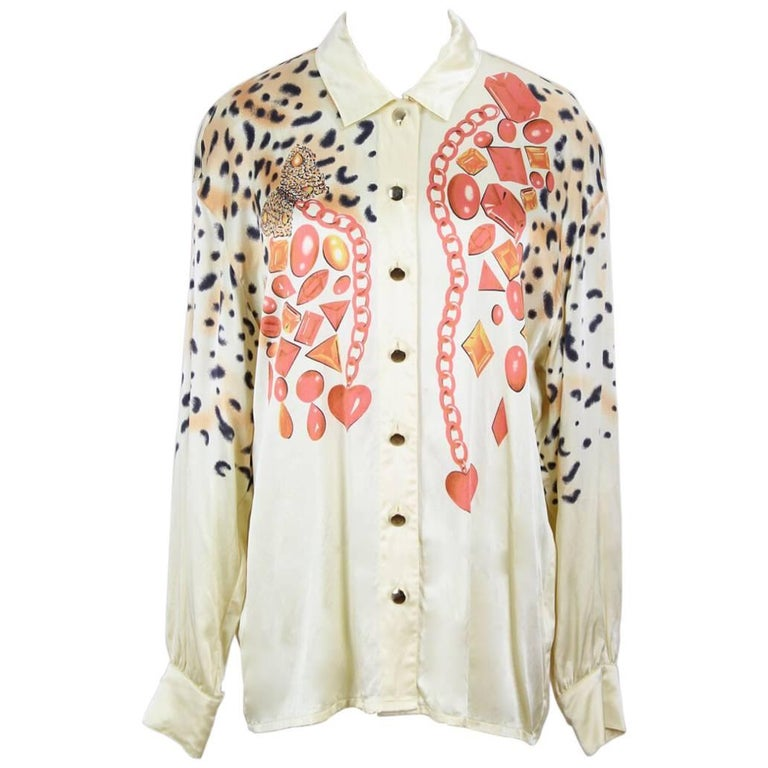 Escada 1980s Light Gold Animal And Gem Print Silk Blouse For Sale