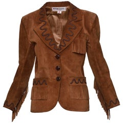 YVES SAINT LAURENT Rive Gauche Brown Suede Leather Fringe Jacket