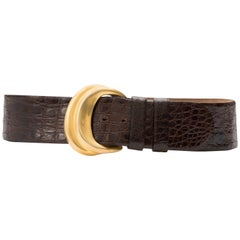 Donna Karan Brown Crocodile Belt With Robert Lee Morris Buckle, Circa 1980's