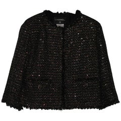 CHANEL Short Jacket in Bicolor Tweed Size 40FR