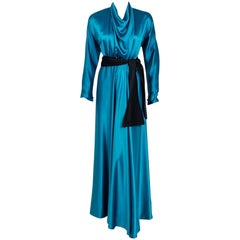 1978 Halston Couture Teal Blue Draped Silk Satin Long-Sleeve Belted Dress Gown