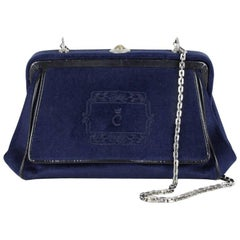 Comtesse Navy Velvet Frame Shoulder Bag With Matching Coin Purse, 1950s/1960s
