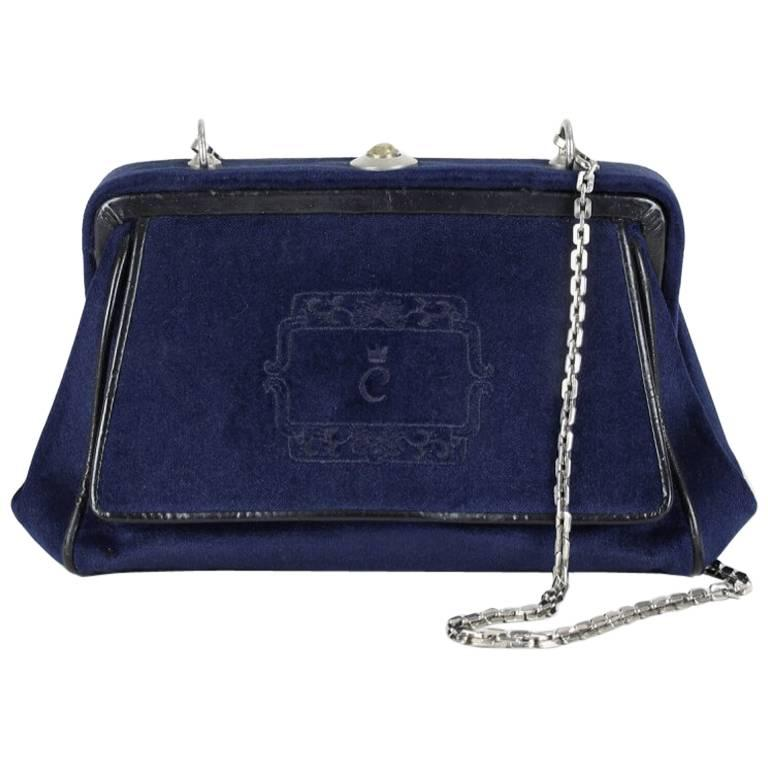 Comtesse Navy Velvet Frame Shoulder Bag With Matching Coin Purse, 1950s/1960s