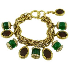 Chanel Vintage Double Strand Gripoix Charm Bracelet