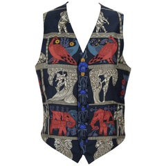 "Hermès ""Torana"" Print Scarf Silk Gentleman's Waistcoat Vest, 1980s"