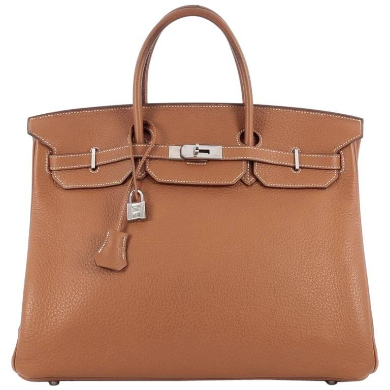 Hermes Birkin Handbag Gold Clemence with Palladium Hardware 40 For Sale
