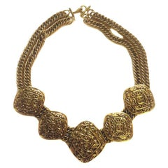 Vintage CHANEL Crew Neck in Gilded Metal Mesh Chains and Diamond-Shape Pieces
