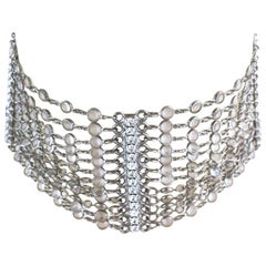 Late 1990s  Butler&Wilson Crystal 12 Strand Choker Necklace with Diamanté Spacer