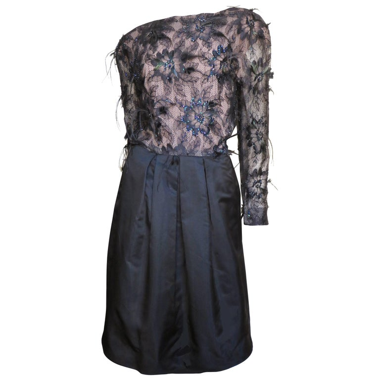 1980s Arnold Saasi Boutique Feather & Beaded Lace Dress