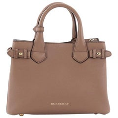 Burberry Banner Convertible Tote Leather and House Check Canvas Small