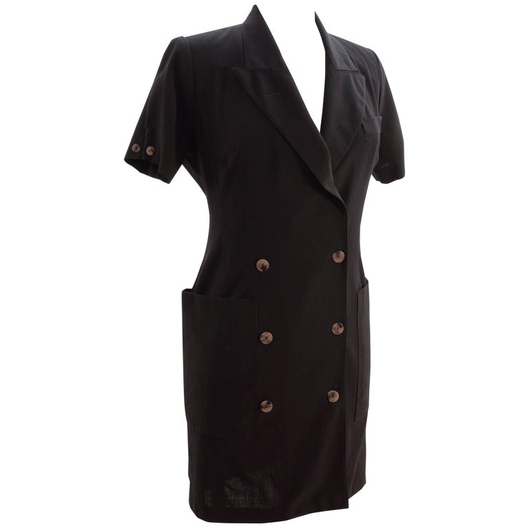 d1d7d14506a8 Jean Paul Gaultier Pour Gibo Black Shirt Dress Chic Oversized Pockets Sz 40  90s For Sale