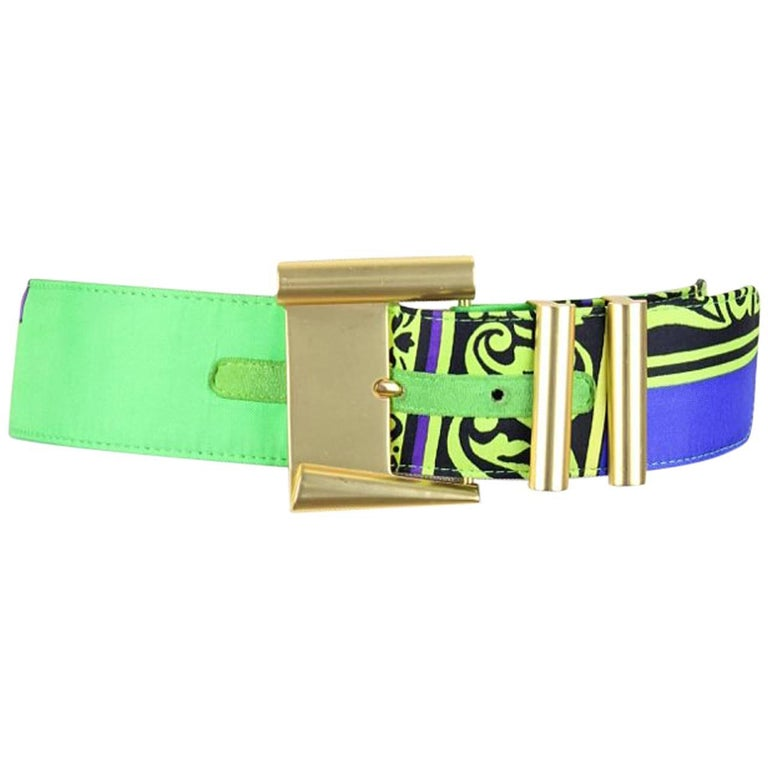 Gianni Versace Istante 1990s Vibrant Print Belt With Gold Tone Hardware