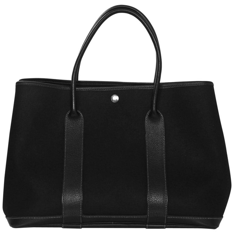 3bc704d451e Hermes Black Canvas and Leather Toile 36cm Garden Party Tote Bag For ...