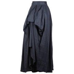 Yohji Yamamoto Charcoal Grey Linen Draped Maxi Skirt, 1990s