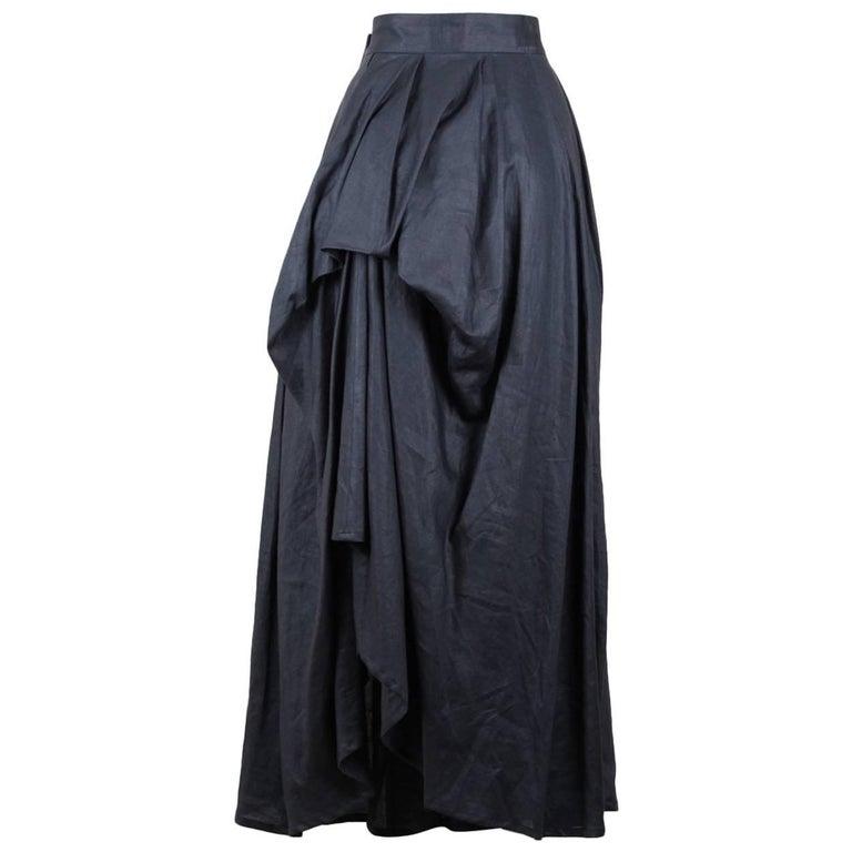 Yohji Yamamoto Charcoal Grey Linen Draped Maxi Skirt, 1990s  For Sale