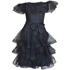 1990s Scaasi Boutique Ruffle Off Shoulder Dress