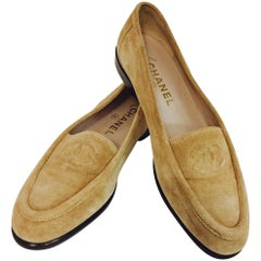 Casual and Chic Chanel Beige Suede Loafers With Stitched CC Logo