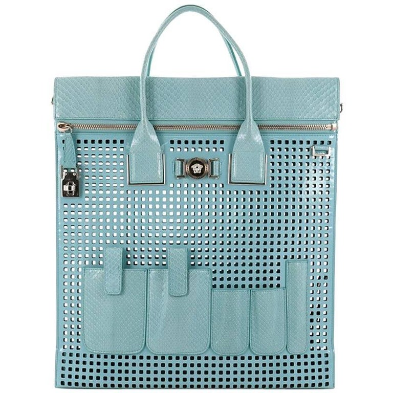 Versace Front Pocket Convertible Tote Perforated Patent and Snakeskin Lar