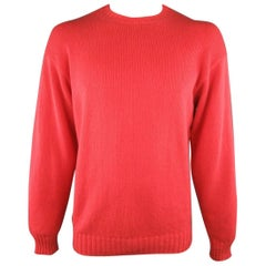 Men's LORO PIANA Size L Coral Red Knitted Cotton Crewneck Pullover Sweater