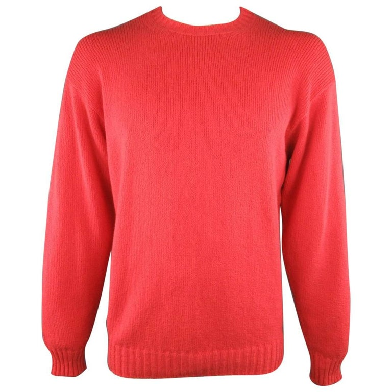 Men's LORO PIANA Size L Coral Red Knitted Cotton Crewneck Pullover ...