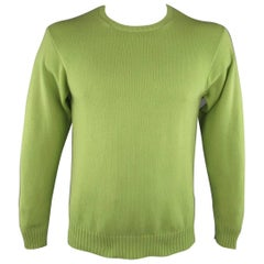 Men's LORO PIANA Size M Light Green Knitted Cashmere Crewneck Pullover