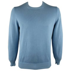 Men's BRUNELLO CUCINELLI Size L Blue Solid Cotton Knit Crewneck Pullover