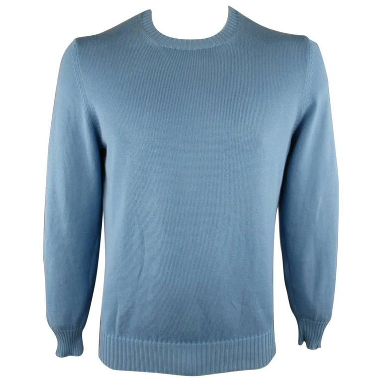 Men's BRUNELLO CUCINELLI Size L Blue Solid Cotton Knit Crewneck Pullover For Sale