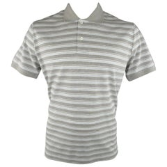 Men's LORO PIANA Size XXL Light Grey & Blue Stripe Pique POLO