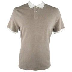 BRUNELLO CUCINELLI Size XXL Taupe & White Cotton Pique Contrast Collar Polo