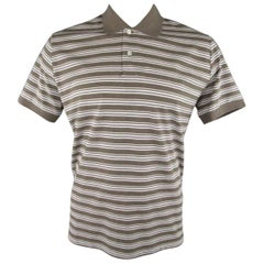 Men's LORO PIANA Size XXL Taupe White & Navy Stripe Pique POLO