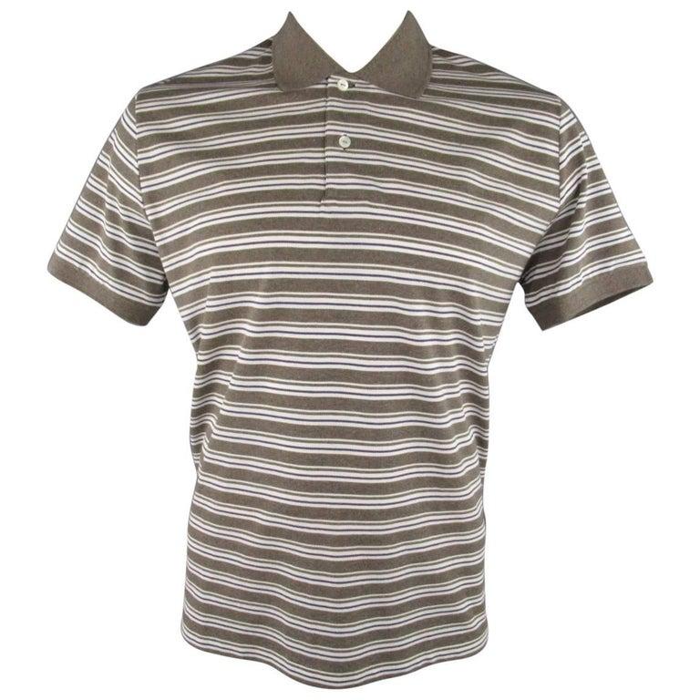 Men's LORO PIANA Size XXL Taupe White & Navy Stripe Pique POLO For Sale