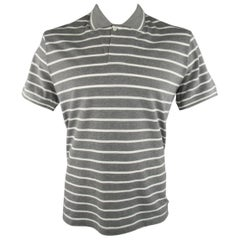 Men's LORO PIANA Size XXL Grey & White Stripe Pique POLO
