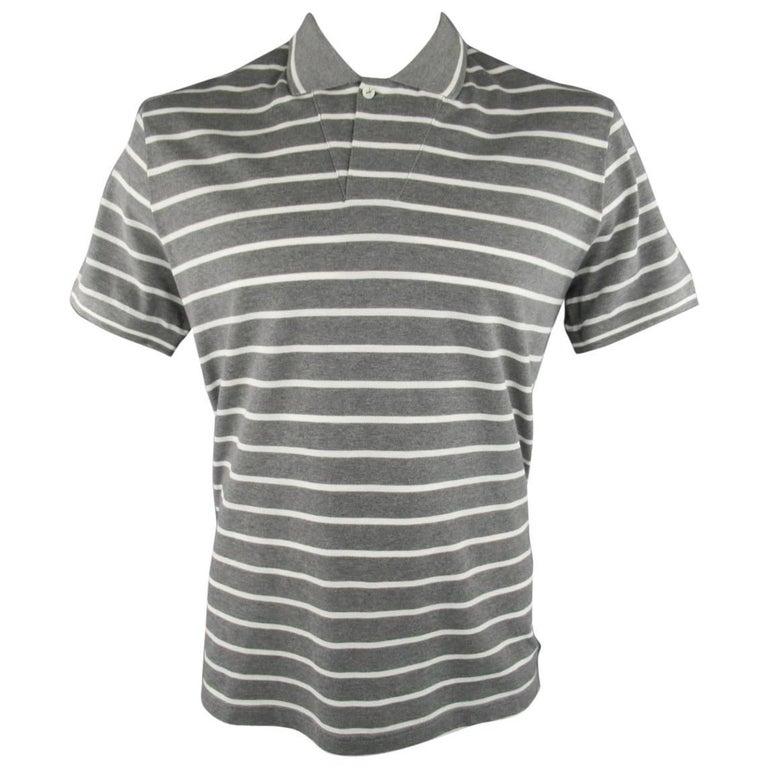 Men's LORO PIANA Size XXL Grey & White Stripe Pique POLO For Sale