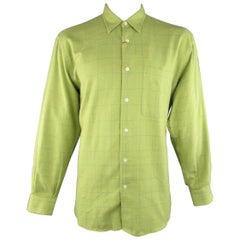Men's BRIONI Sport Size L Green Window Pane Cotton Flannel Long Sleeve Shirt