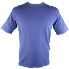 Men's BRIONI Size L Blue Cotton Pique Knit White Striped Bands T-shirt
