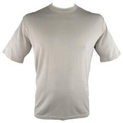 's NWT BRIONI Size L Beige Cotton Pique Knit White Trim T-shirt