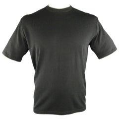 Men's NWT BRIONI Size L Black Cotton Pique Beige Striped Collar T-shirt