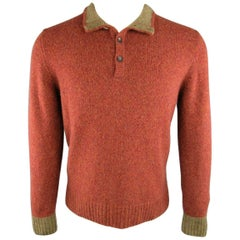 Men's LORO PIANA Size XS Brick Red Heather Cashmere High Button Collar Sweater