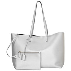 Saint Laurent Silver Leather Large Shopping Tote Bag w/ Insert