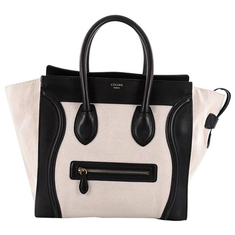 Celine Luggage Handbag Canvas and Leather Mini