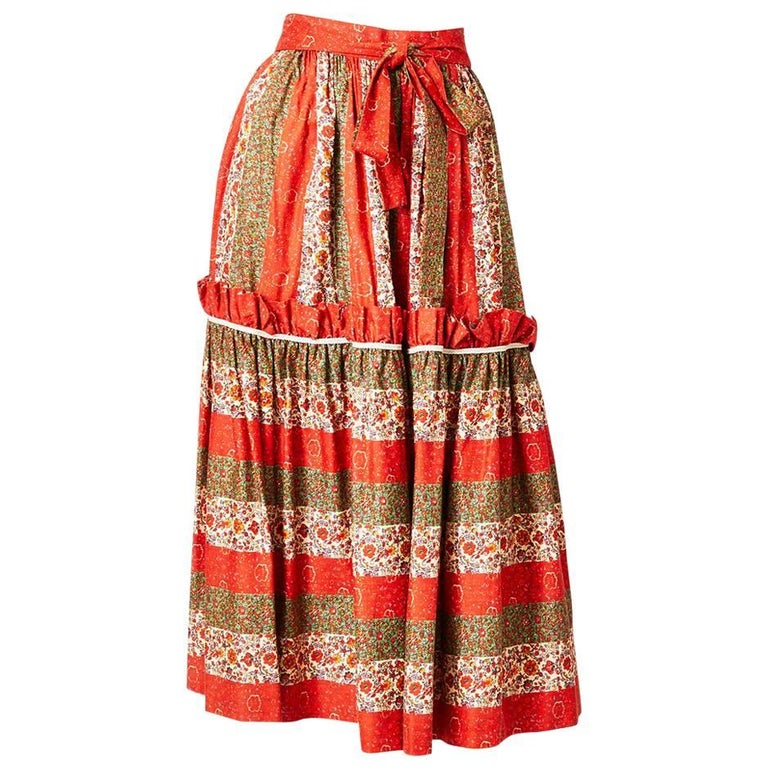 b4fd5892bcd8 Yves Saint Laurent Floral Pattern Peasant Skirt For Sale at 1stdibs