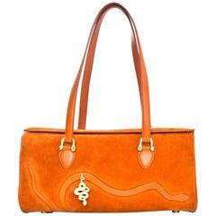 Kieselstein-Cord Orange Suede Shoulder bag with Snake Charm