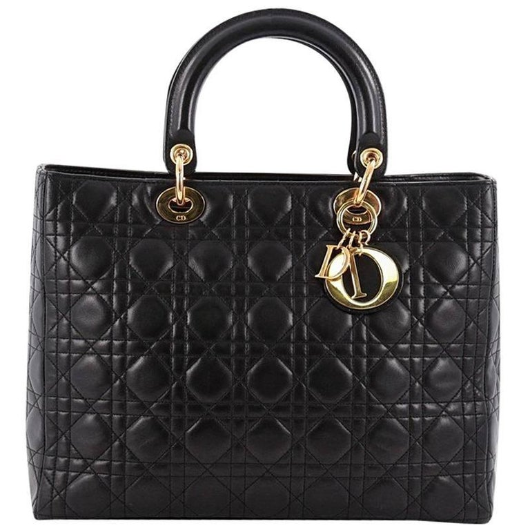 Christian Dior Lady Dior Handbag Cannage Quilt Lambskin Large For Sale