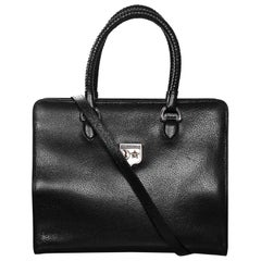 Kieselstein-Cord Large Black Work Tote with Sterling Silver Hardware